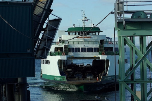Washington state ferry, Walla Walla, approaching to dock at the Edmonds port of call.