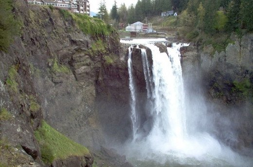 "Snoqualmie Falls gets more than 1.5 million visitors per year. The falls are are a 268 ft. high ""curtain"" style waterfall. Gorgeous!"