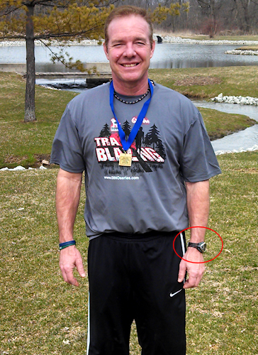 Tim (husband) posing with his 1st Place Medal. See his watch?
