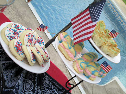 Same 3 tiered stand now taking on a patriot style! I used white plates for this red, white and blue affair by the pool!