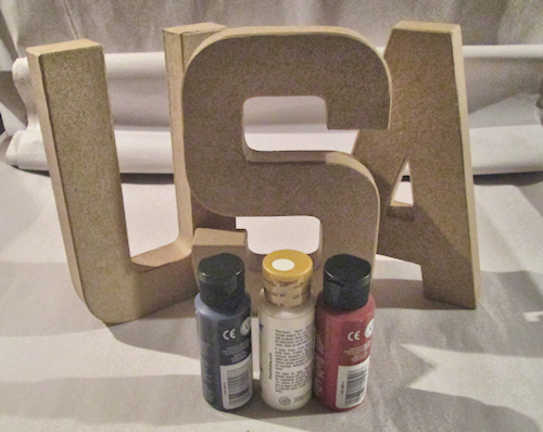 You need your choice of letters and paint colors. I am using ivory white, spice red & navy blue.