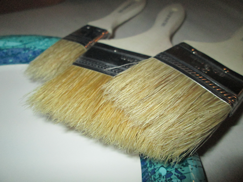 "I am going to ""dry brush"" the letters. For this I want cheap, uneven bristles on my paint brush. This was a set of three in different sizes and called ""Chip Paint Brushes""."