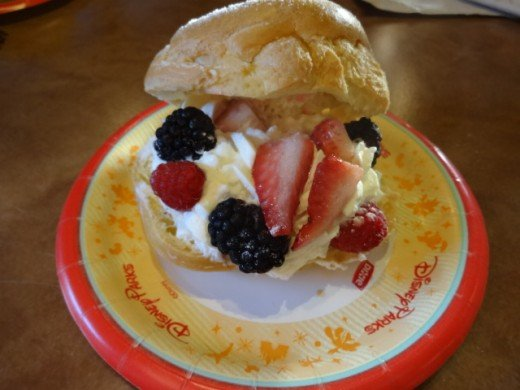 Dessert from the Country of Norway -  Berry Cream Puff: Whipped Cream with Strawberries, Blackberries and Red Raspberries