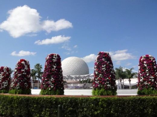 Colorful Cone-shape Planters Surrounding Spaceship Earth