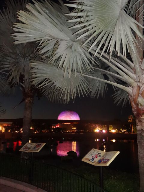 Night-time Shot of Spaceship Earth from Across the World Showcase Lagoon