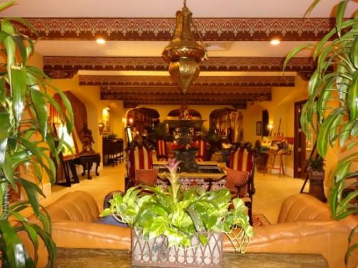 Additional hotel lobby/reception area Fine gilded gold leaf everywhere at Casa Monica