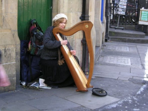 Irish Harpist in Dublin City