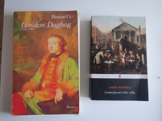 Two editions of Boswell's London Journal - the left is the Danish translation which I was given by my mother back in 2003, the right one is one of the most recent and most authoritative international editions dating from 2011.