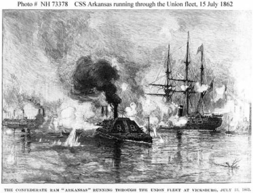 CSS Arkansas running through the Union fleet