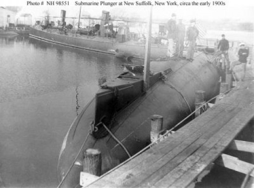 USS Winslow in Background, USS Plunger in Foreground