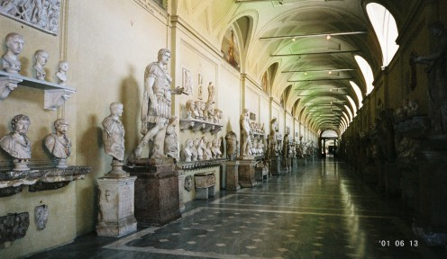 A long hallway of statues.