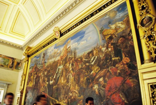 A huge, beautiful painting inside. (see people's heads at the bottom)
