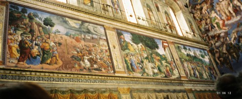 Paintings along one wall.