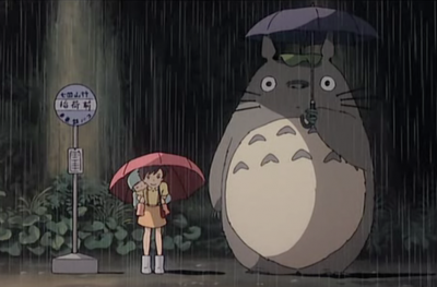 Totoro with an umbrella. Cute!