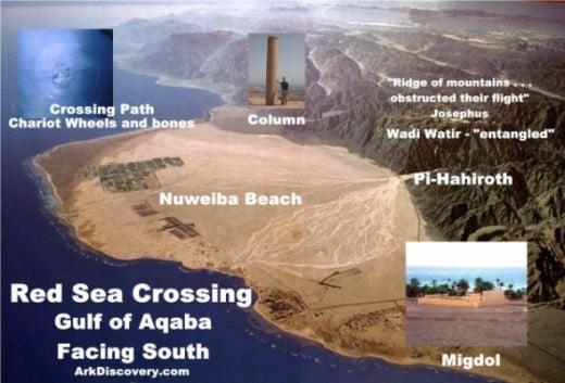 Red Sea Crossing Nuweiba Beach Pillar Gulf Aqaba. Used with permission.
