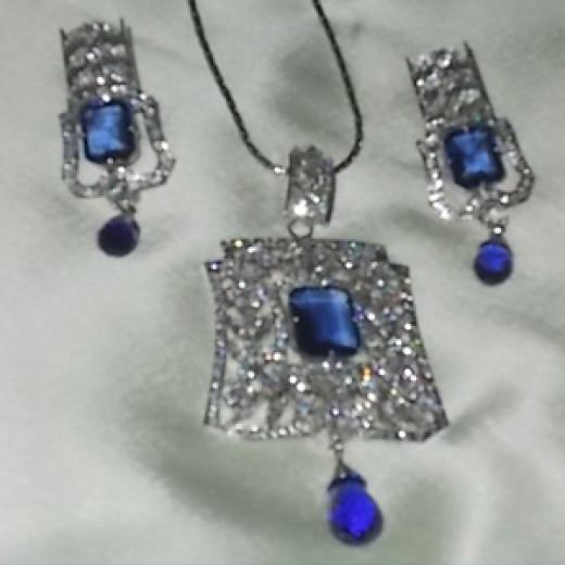 Created Blue Sapphire Jewelry Set