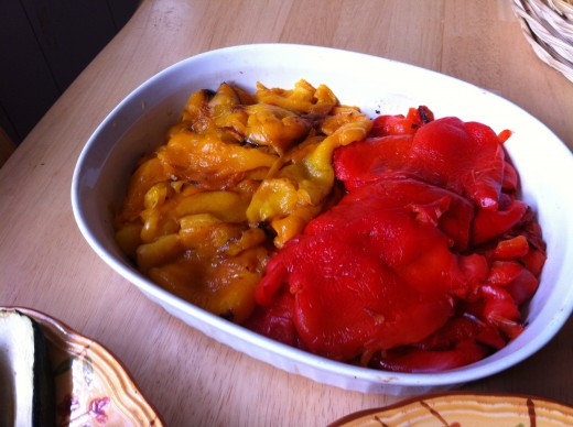 peeled roasted red and yellow bell peppers
