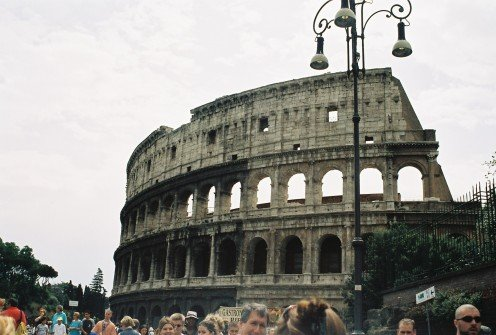 The Colosseum, begun in 70 A.D under Emperor Flavius (originally called the Flavian Amphitheater), and completed in 80 A.D. The largest amphitheater ever built in the Roman Empire, and one of the greatest works of Roman architecture & engineering.