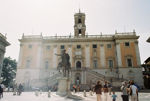 The Senate Palace on Capitoline Hill. The horse-and-rider statue is the only statue of Emperor Marcus Aurelius in Rome.