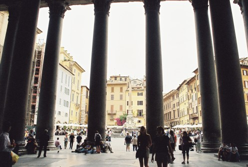 Looking out through the Pantheon's columns into Piazza Rotunda.