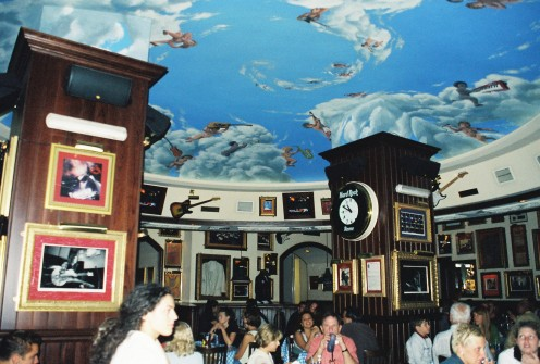 Inside the Hard Rock Cafe - I just love the Michelangelo-inspired ceiling!