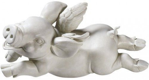 If Pigs Had Wings Sculpture - Hand-painted 15-inch Flying Pig in Cast Resin