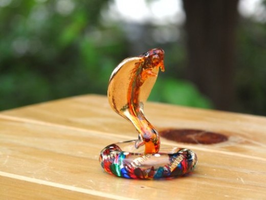 Handmade Snake Art Glass Blown Wild / Reptiles Animal Figurine