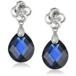 Created Blue Sapphire Briolette and Diamond Dangle Earrings