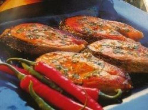 Salmon steaks. Photo Credit - Elsie Hagley