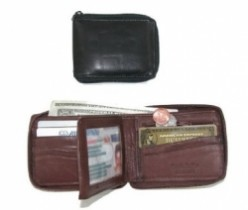 Paul & Taylor Men's Zip Around Leather Wallet