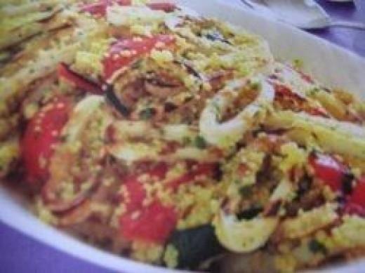 BBQ Calamari Couscous. Photo Credit - Elsie Hagley