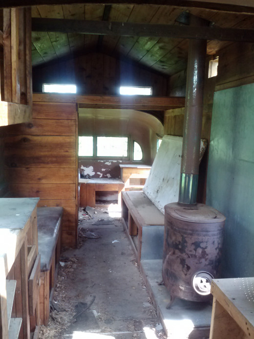 Inside of the bus conversion ~ Someone actually lived in here