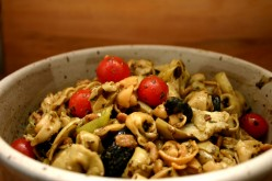 Tortellini Salad Recipe with Artichoke Hearts, Olives, and Cherry Tomatoes
