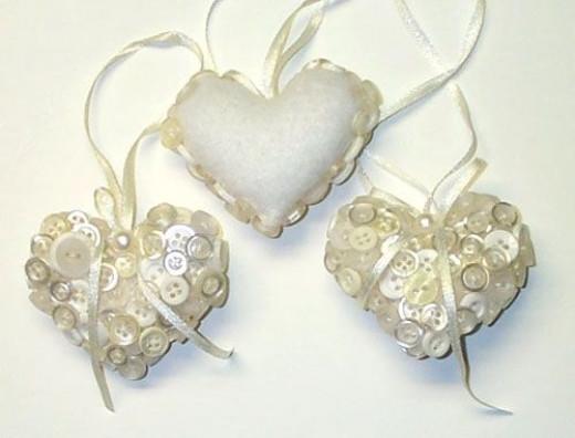 Handmade Button Heart Christmas Tree Ornaments