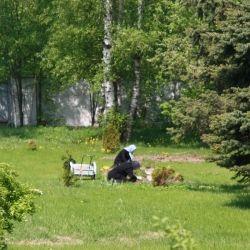 Nuns plant tulips in Tolga monastery on Volga river