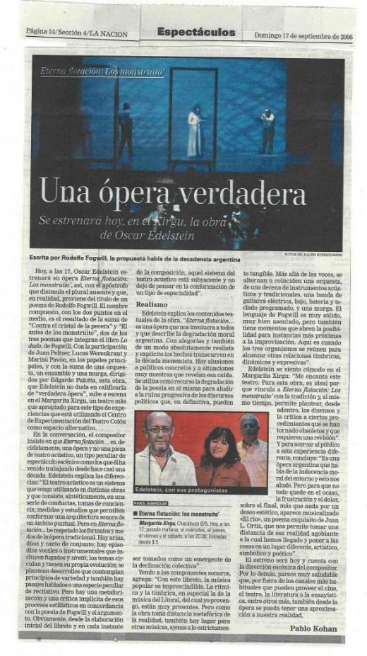 A true opera - Pablo Kohan (La Nación)