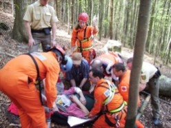 Mountain SAR rescuing a lumberjack