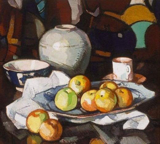 Still life - apples and a jar by Samuel Peploe