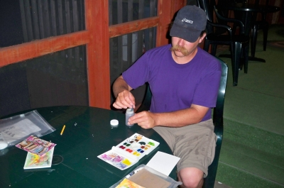 Steve enjoyed painting on the screened porch one evening, while I read and we listened to the water lapping against shore.