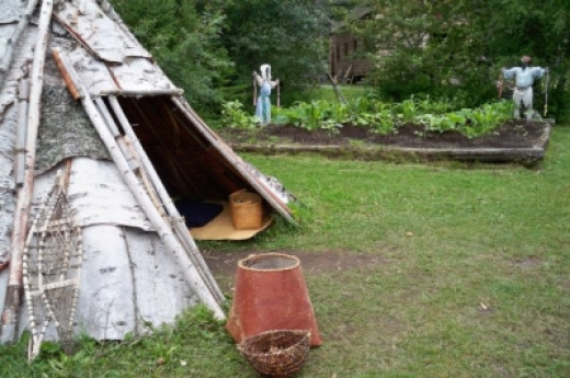 "An Ojibwe tee-pee and ""three sisters"" garden"