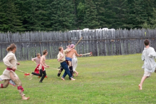 A game of Lacrosse the 18th century way at Rendezvous Days