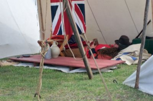 Taking a snooze during Rendezvous Days reenactment