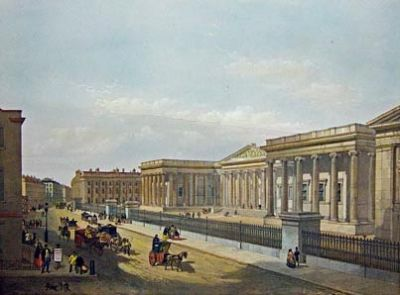 The British Museum in Great Russell Street by W Simpson after E Walker, published 1852