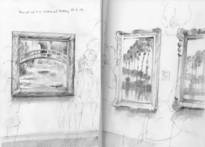 Sketching the Monets in the National Gallery