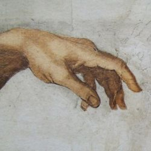 Adam's left hand - The Creation by Michelangelo, Sistine Chapel, Vatican City