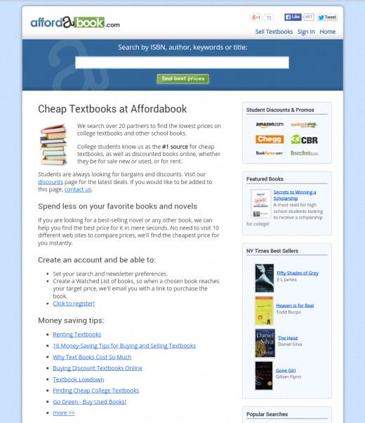 Homepage of Affordabook