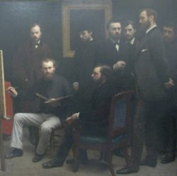 Crop of the painting Un Atelier aux Batignolles by Fantin Latour - showing Manet at his easel. The group also includes Renoir, Bazille and Mone