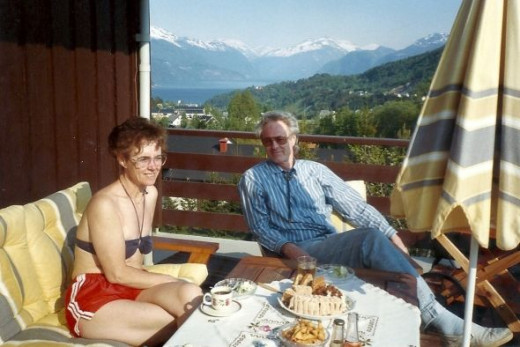 My Norwegian Host Parents on their porch