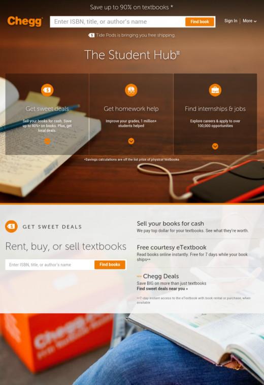 Homepage of Chegg
