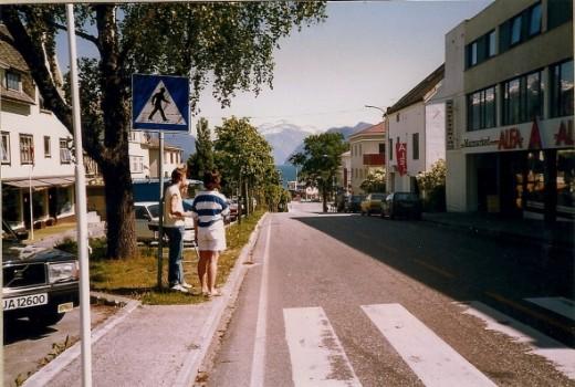 The main street through downtown Stranda.